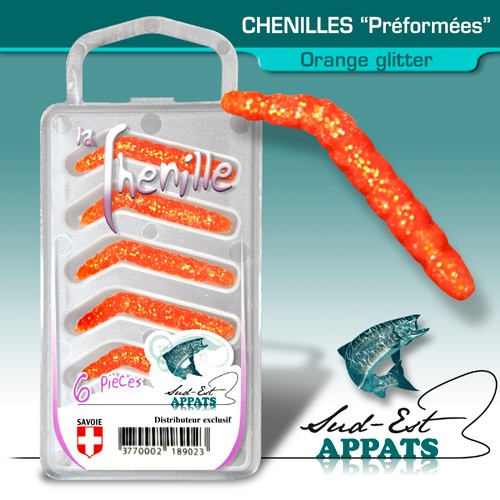 Chenilles par 6 - couleur ORANGE GLITTER